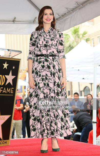 US actress Anne Hathaway is honored with the 2663rd Star on the Hollywood Walk Of Fame in front of the Chinese theatre on May 09 2019 in Hollywood