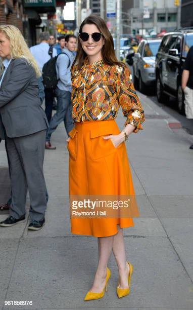 Actress Anne Hathaway is seen arriving at The Late Show with Stephen Colbert on May 22 2018 in New York City