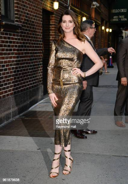 Actress Anne Hathaway is seen leaving 'The Late Show with Stephen Colbert' on May 22 2018 in New York City
