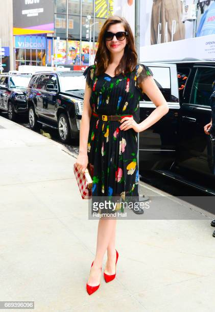 Actress Anne Hathaway is seen outside 'Good Morning America' on April 17 2017 in New York City