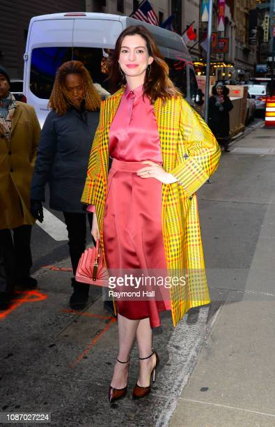Actress Anne Hathaway is seen outside Good Morning America on January 23, 2019 in New York City.
