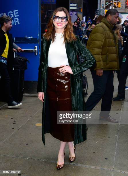 Actress Anne Hathaway is seen outside Good Morning America on January 23 2019 in New York City