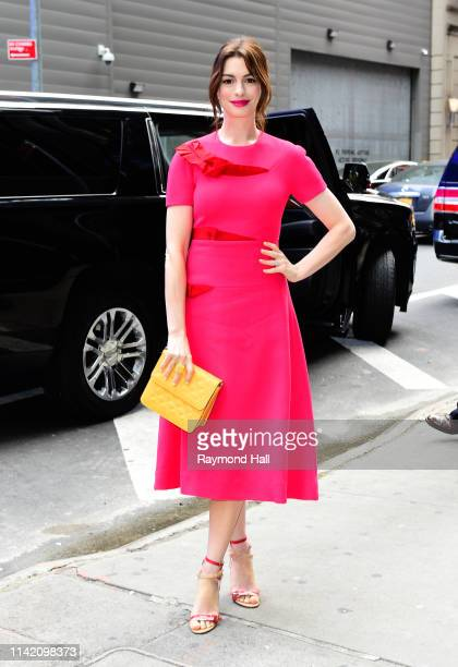 Actress Anne Hathaway is seen outside of good morning america on May 7, 2019 in New York City.