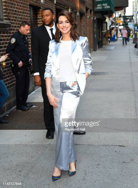 Actress Anne Hathaway is seen outside The Late Show with Stephen Colbert on May 7 2019 in New York City
