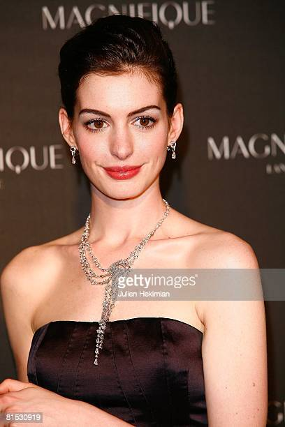 Actress Anne Hathaway launches 'Magnifique', the new Lancome fragrance, at Le Grand Palais on June 10, 2008 in Paris, France.