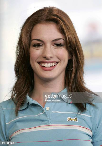 Actress Anne Hathaway makes an appearance on MTV's Total Request Live August 10 2004 in New York City