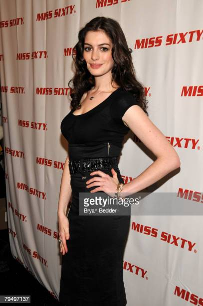 Actress Anne Hathaway poses backstage at the Miss Sixty Fall 2008 fashion show during MercedesBenz Fashion Week Fall 2008 at The Tent at Bryant Park...