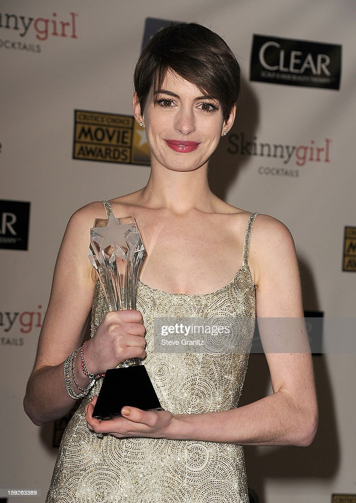 Actress Anne Hathaway poses in the press room during the 18th Annual Critics' Choice Movie Awards at The Barker Hanger on January 10, 2013 in Santa Monica, California.
