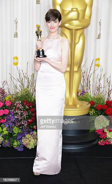 Actress Anne Hathaway poses in the press room during the Oscars at Loews Hollywood Hotel on February 24 2013 in Hollywood California
