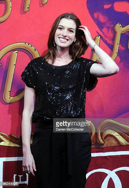 Actress Anne Hathaway receives the Hasty Pudding Pot Woman of the Year Award January 28 2010 at Harvard University in Cambridge Massachusetts...