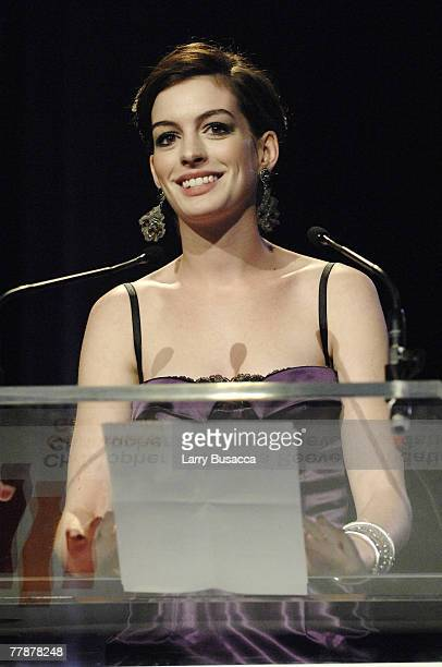 """Actress Anne Hathaway speaks at """"A Magical Evening"""" hosted by The Christopher and Dana Reeve Foundation at The Marriott Marquis on November 12, 2007..."""