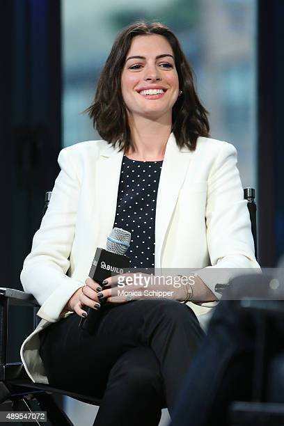 Actress Anne Hathaway speaks at AOL Build Presents The Intern at AOL Studios In New York on September 22 2015 in New York City