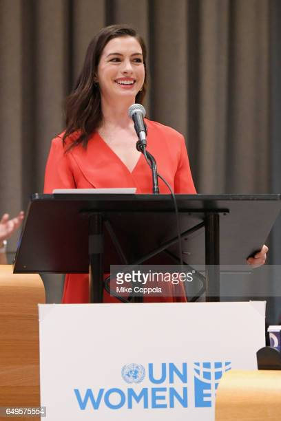 Actress Anne Hathaway speaks during 2017 International Women's Day at United Nations Headquarters on March 8 2017 in New York City