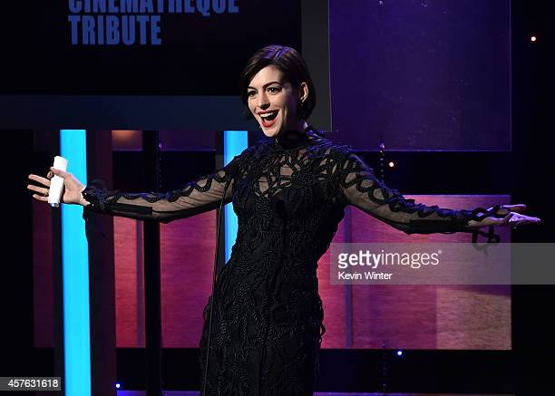 Actress Anne Hathaway speaks onstage at the 28th American Cinematheque Award honoring Matthew McConaughey at The Beverly Hilton Hotel on October 21...
