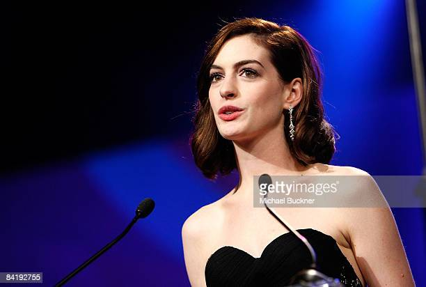 Actress Anne Hathaway speaks onstage during the 20th anniversary of the Palm Springs International Film Festival Awards Gala presented by Cartier...