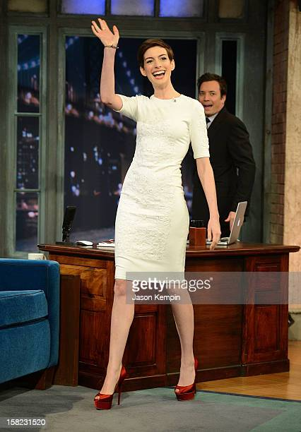 Actress Anne Hathaway visits Late Night With Jimmy Fallon at Rockefeller Center on December 11 2012 in New York City