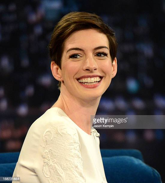 Actress Anne Hathaway visits 'Late Night With Jimmy Fallon' at Rockefeller Center on December 11 2012 in New York City