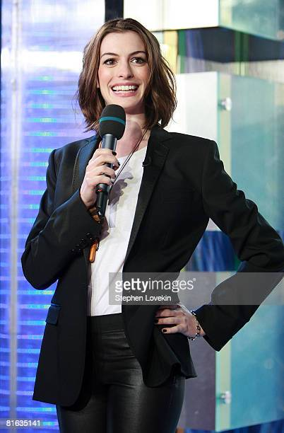 Actress Anne Hathaway visits MTV's TRL on June 17 2008 at MTV Studios in New York City