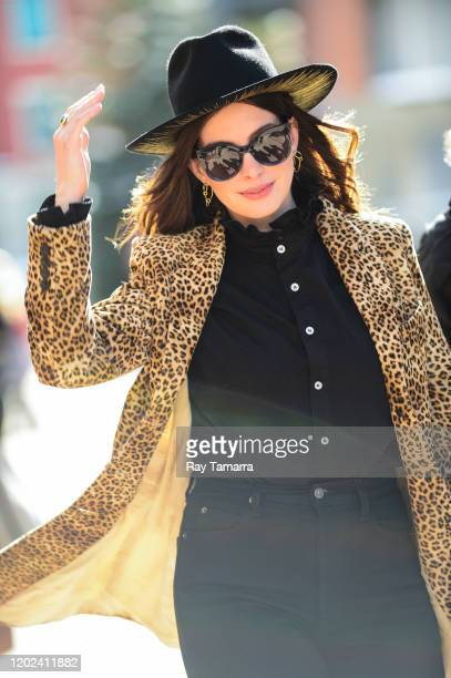 Actress Anne Hathaway walks on Main Street on January 27 2020 in Park City Utah