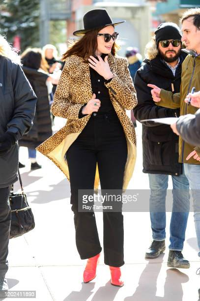 Actress Anne Hathaway walks on Main Street on January 27 2020 in Park City Utah