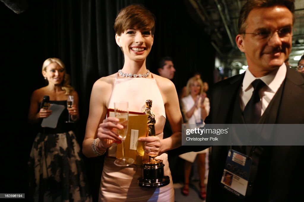 Actress Anne Hathaway, winner of the Best Supporting Actress award for 'Les Miserables,' backstage during the Oscars held at the Dolby Theatre on February 24, 2013 in Hollywood, California.