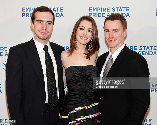 Actress Anne Hathaway with her brothers Thomas Hathaway and Michael Hathaway attend the 18th Annual Empire State Pride Agenda Fall Dinner at the...