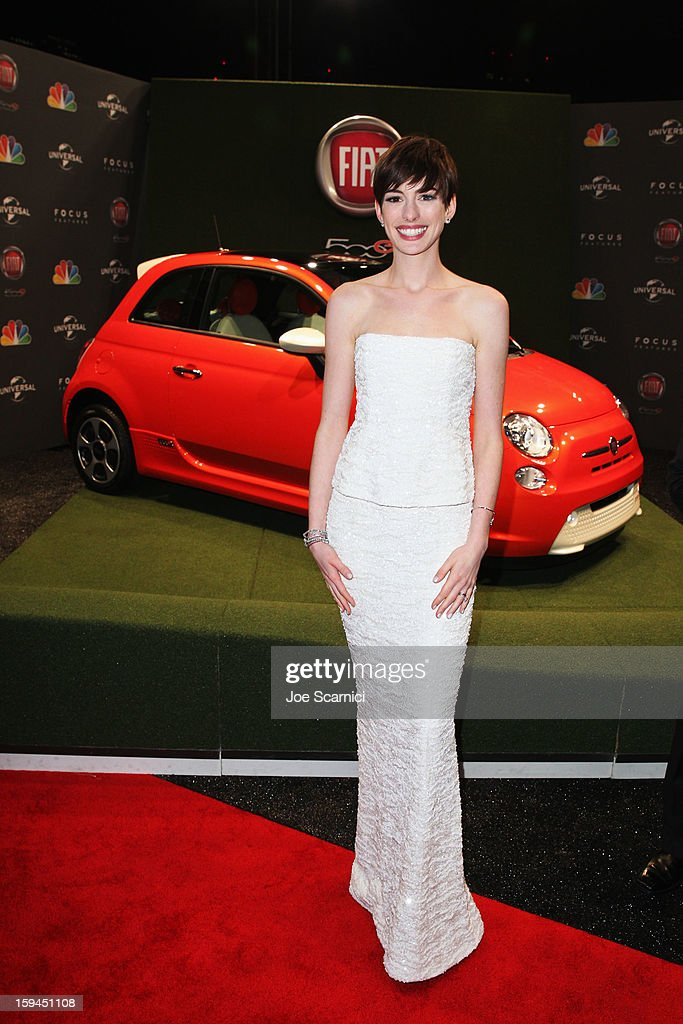 Actress Anne Hathway attends Fiat's Into The Green at the 70th Annual Golden Globe Awards held at The Beverly Hilton Hotel on January 13, 2013 in Beverly Hills, California.