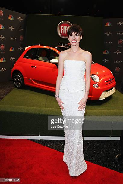 Actress Anne Hathway attends Fiat's Into The Green at the 70th Annual Golden Globe Awards held at The Beverly Hilton Hotel on January 13 2013 in...