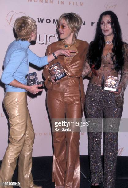 Actress Anne Heche actress Sharon Stone and singer/actress Cher attend the Seventh Annual Women in Film Lucy Awards on September 8 2000 at Beverly...