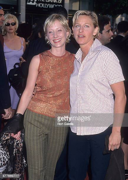 Actress Anne Heche and comedienne Ellen DeGeneres attend the 'Face/Off' Hollywood Premiere on June 19 1997 at the Mann's Chinese Theatre in Hollywood...