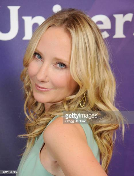 Actress Anne Heche arrives at the 2014 Television Critics Association Summer Press Tour NBCUniversal Day 2 at The Beverly Hilton Hotel on July 14...