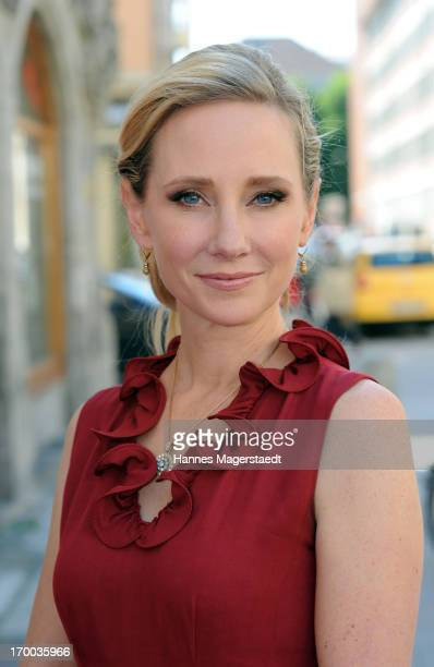 Actress Anne Heche poses prior to a press conference at Monaco Princesse on June 6 2013 in Munich Germany