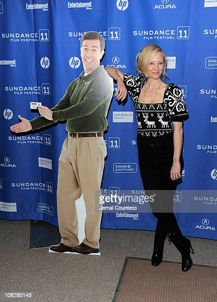 Actress Anne Heche poses with a cardboard cutout of Ed Helms at the Cedar Rapids Premiere at the Eccles Center Theatre during the 2011 Sundance Film...