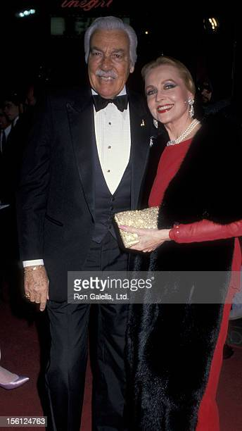 Actress Anne Jeffreys and actor Cesar Romero attending the world premiere of 'Scrooged' on November 17 1988 at Mann Chinese Theater in Hollywood...