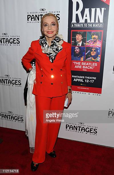 Actress Anne Jeffreys arrives at the opening night of 'Rain A Tribute To The Beatles' at the Pantages Theatre on April 12 2011 in Hollywood California