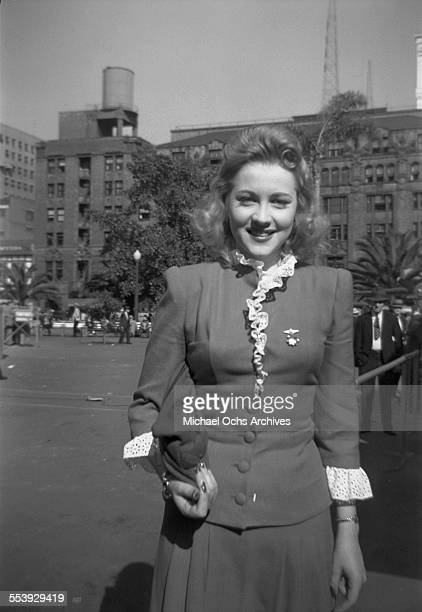 Actress Anne Jeffreys poses on a street in Los Angeles California