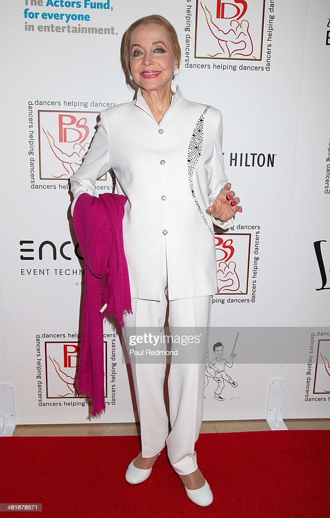 Actress Anne Jeffries autographs for fans at the Professional Dancers Society's 27th Annual Gypsy Award Luncheon at The Beverly Hilton Hotel on March 30, 2014 in Beverly Hills, California.