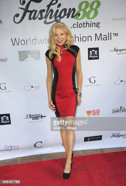 Actress Anne McDaniels arrives for the Global Launch Of Fashion88 held at Pol' Atteu Haute Couture on April 14 2018 in Beverly Hills California