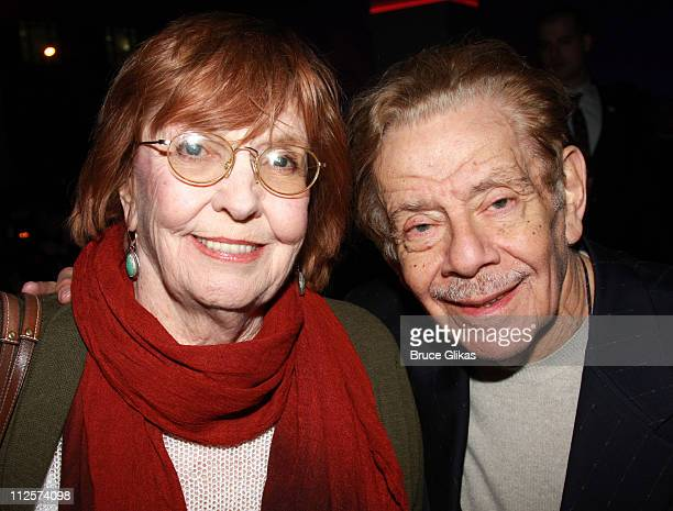 Actress Anne Meara and husband Actor Jerry Stiller pose at the Opening Night After Party for The New Musical Passing Strange at Espace on February 28...