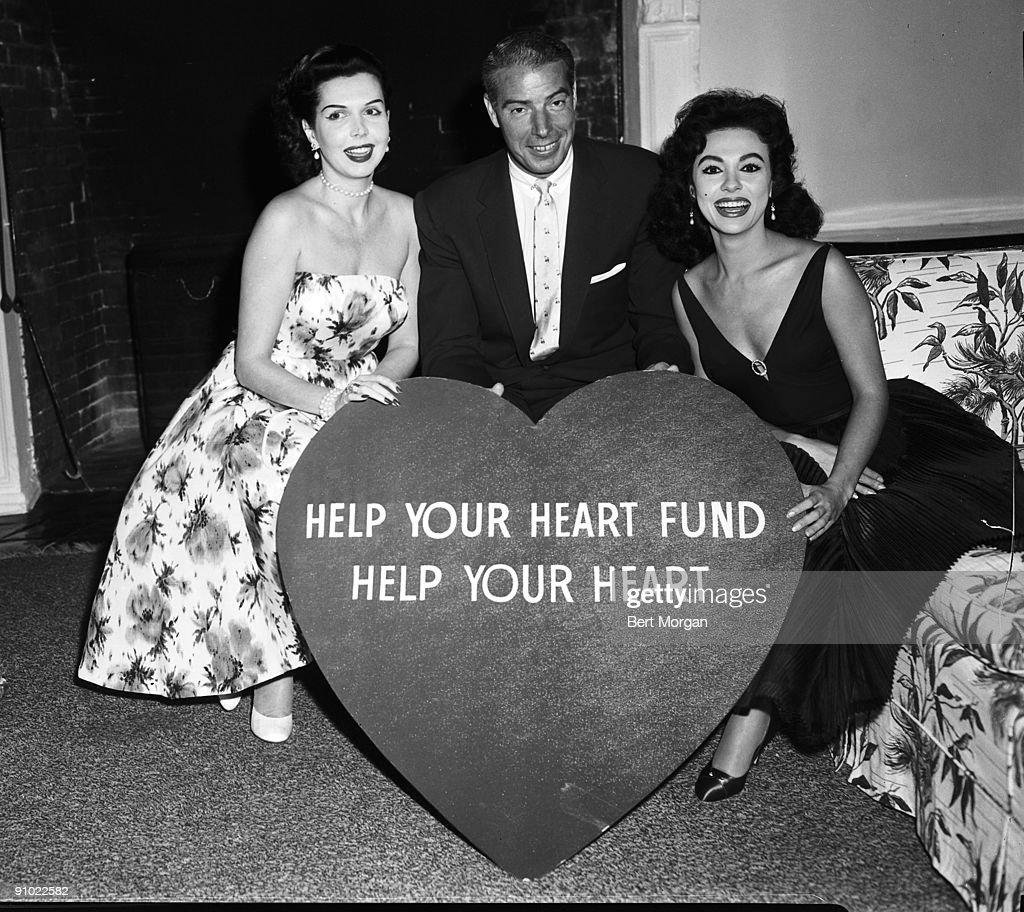 Actress Anne Miller, baseball player Joe DiMaggio and actress Rita Moreno in Palm Beach, Florida raising awareness for The Heart Fund.
