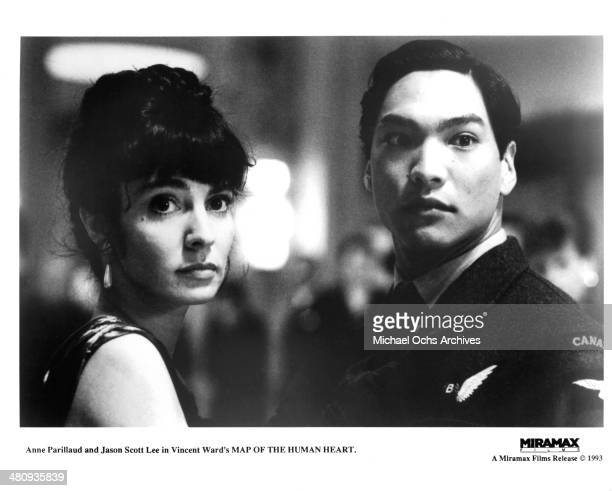 Actress Anne Parillaud and actor Jason Scott Lee in a scene from the Miramax movie Map of the Human Heart circa 1992
