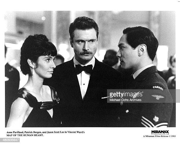 Actress Anne Parillaud and actors Patrick Bergin and Jason Scott Lee in a scene from the Miramax movie Map of the Human Heart circa 1992