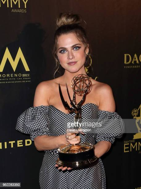 Actress Anne Winters attends the press room at the 45th Annual Daytime Creative Arts Emmy Awards at Pasadena Civic Auditorium on April 27 2018 in...