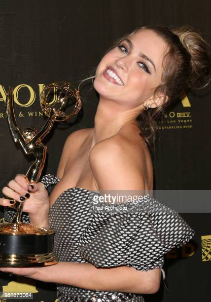 Actress Anne Winters attends the press room at the 45th Annual Daytime Creative Arts Emmy Awards at the Pasadena Civic Auditorium on April 27 2018 in...