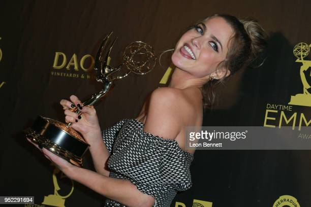 Actress Anne Winters attends the Press Room during 45th Annual Daytime Creative Arts Emmy Awards at Pasadena Civic Auditorium on April 27 2018 in...