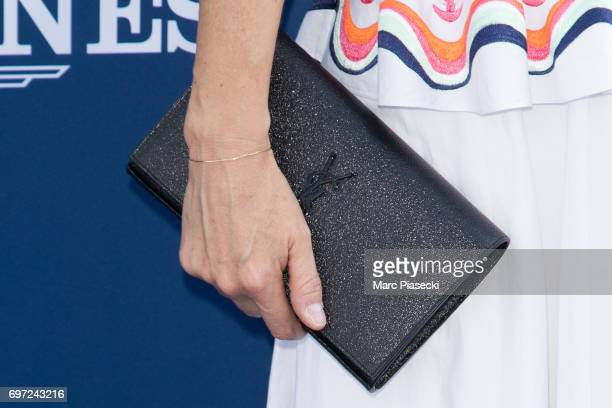 Actress AnneCharlotte Pontabry clutch bag detail attends the 'Prix de Diane Longines 2017' on June 18 2017 in Chantilly France