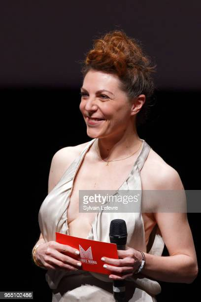 Actress AnneElisabeth Blateau poses with fans as she attends closing ceremony of Series Mania Lille Hauts de France festival on May 5 2018 in Lille...