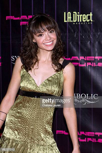 Actress Annemarie Pazmino arrives at Planet Funk's fashion week kickoff party at Kress on October 10 2008 in Hollywood California