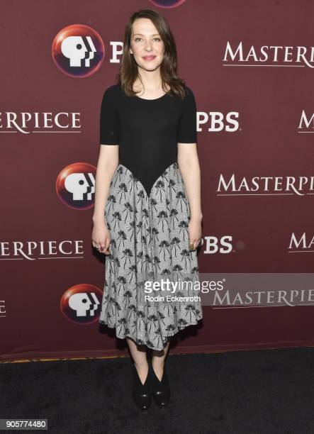 Actress Annes Elwy attends photo call for BBC's 'Little Women' at Langham Hotel on January 16 2018 in Pasadena California