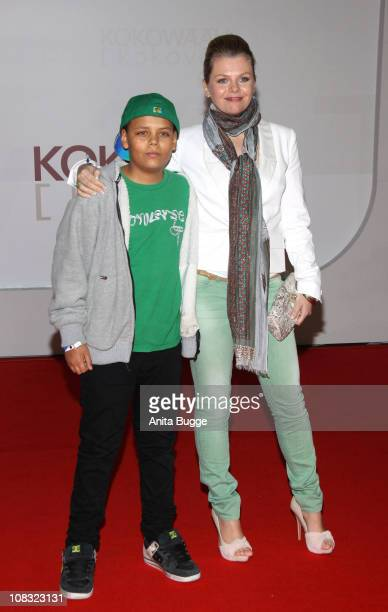 Actress Anne-Sophie Briest and her son Jamal arrive for the ''Kokowaeaeh' - Germany Premiere at the CineStar movie theater on January 25, 2011 in...